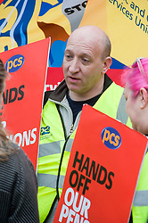 Ian Lawther of The GEC.Members PCS union hold a rally outside Nick Cleggs Constituency Office, to raise awareness of the fact that this month will see the first  increased contributions coming out of their salaries to pay for the changes to public sector pensions. It is the first in a series of hands off our pensions red card protest outside key ministerial constituencies over the Easter recess...http://www.pauldaviddrabble.co.uk.14 April 2012 .Image © Paul David Drabble