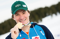 World Champion Rok Marguc posing with his gold medal prior to the Rogla Snowboard World Cup, on January 30, 2013 in Rogla, Slovenia. (Photo By Vid Ponikvar / Sportida.com)