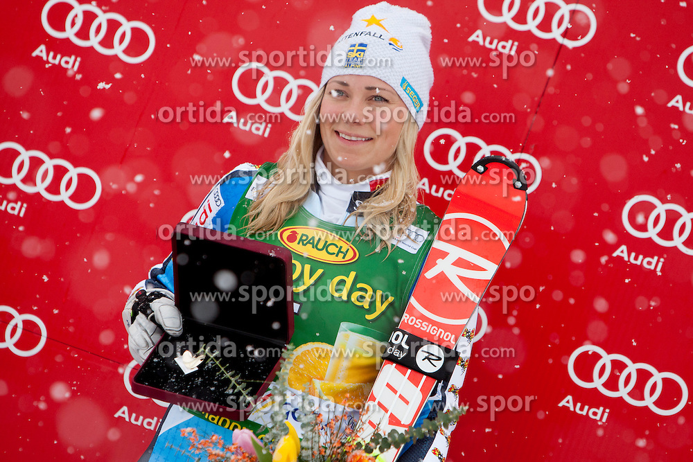 HANSDOTTER Frida of Sweden during flover ceremony of 50th Golden Fox Audi Alpine FIS Ski World Cup Ladies Slalom, on February 2, 2014 in Podkoren, Kranjska Gora, Slovenia. (Photo By Urban Urbanc / Sportida.com)