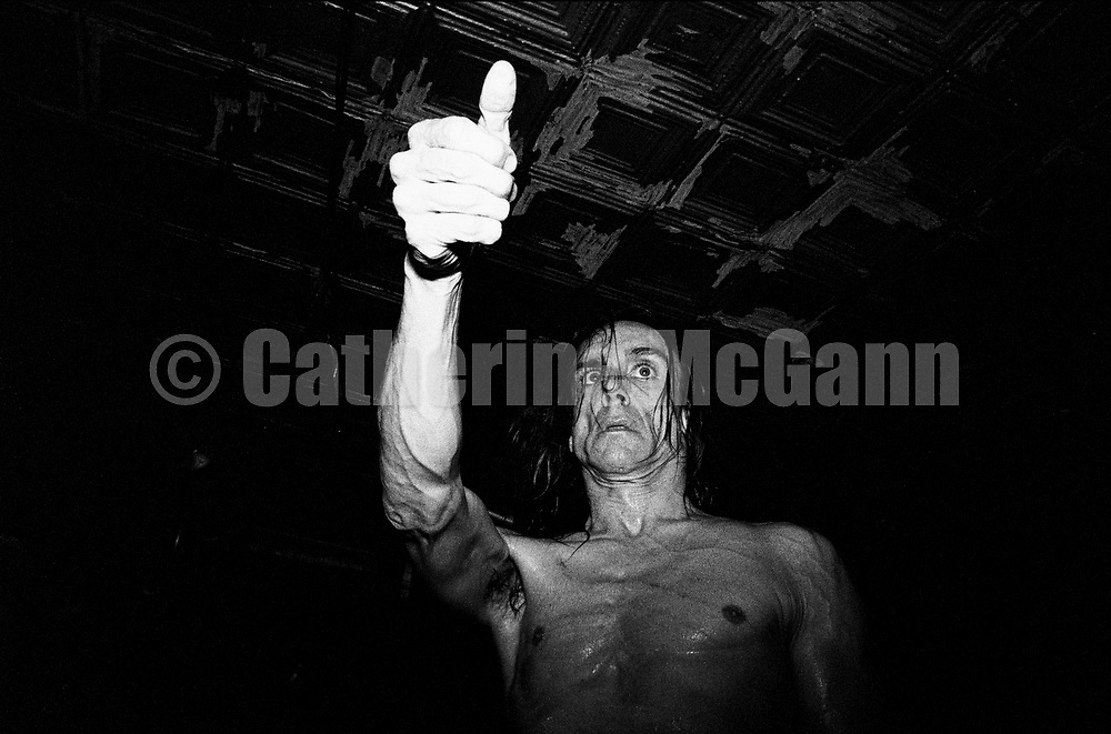 NEW YORK - JANUARY 1993:  IGGY POP performs at Continental Divide in January 1993 in New York City, New York. (Photo by Catherine McGann).Copyright 2010 Catherine McGann