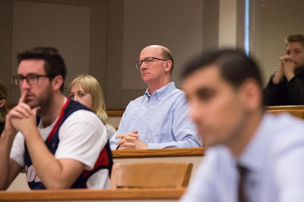Audience members listen to the case being presented at the 2017 Linden Cup on March 25 in the Barberi Court Room at Gonzaga University's School of Law. The event was hosted by the Moot Court Honors Council and was the 82nd Anniversary of the competition. Photo by Libby Kamrowski