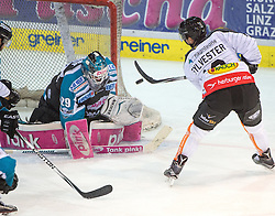 09.10.2015, Keine Sorgen Eisarena, Linz, AUT, EBEL, EHC Liwest Black Wings Linz vs Dornbirner Eishockey Club, 9. Runde, im Bild Michael Ouzas (EHC Liwest Black Wings Linz) und Dustin Sylvester (Dornbirner Eishockey Club) // during the Erste Bank Icehockey League 9th round match between EHC Liwest Black Wings Linz and Dornbirner Eishockey Club at the Keine Sorgen Icearena, Linz, Austria on 2015/10/09. EXPA Pictures © 2015, PhotoCredit: EXPA/ Reinhard Eisenbauer