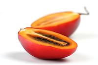 Close-up of tamarillo on white background