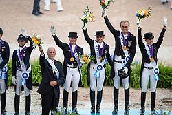 Team Germany, Gold Medal, Werth Isabell, Schneider DForothee, Rothenberger Sönke, Von Bredow-Werndl Jessica, Röser Klaus<br /> World Equestrian Games - Tryon 2018<br /> © Hippo Foto - Sharon Vandeput<br /> 13/09/2018