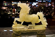 Jade horse on display in the Beijing Dragon Land gallery in Beijing, China