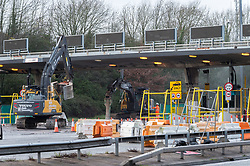 © Licensed to London News Pictures. 17/12/2018. Aust, South Gloucestershire, UK. The original Severn Bridge is closed westbound as the toll booths are removed, on the first day of toll free motoring from England to Wales across both Severn bridges including the newer Second Severn Crossing now named the Prince of Wales bridge. Photo credit: Simon Chapman/LNP