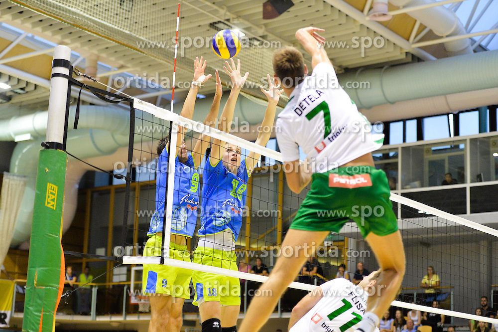 Jernej Detela of Panvita Pomgrad vs. Jernej Vrhunc and Saso Staleker of Slovenia during the Friendly Volleyball match between OK Panvita Pomgrad and U21 Nationalteam of Slovenia on August 28, 2015 in Murska Sobota, Slovenia. Photo by Mario Horvat / Sportida