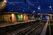 Railway Stations at night. About 6pm at West Footscray station, a few travellers are on the inbound platform. Pic By Craig Sillitoe CSZ/The Sunday Age/The Age iPad App.15/6/2011 This photograph can be used for non commercial uses with attribution. Credit: Craig Sillitoe Photography / http://www.csillitoe.com<br />