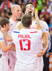 Pierre Pujol #13 of France and Jonas Aguenier #1 of France during volleyball match between National teams of Slovenia and France at Final match of 2015 CEV Volleyball European Championship - Men, on October 18, 2015 in Arena Armeec, Sofia, Bulgaria. Photo by Vid Ponikvar / Sportida