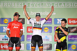September 1, 2018 - Brussels, BELGIUM - Belgian Jasper Stuyven of Trek-Segafredo, German Pascal Ackermann of Bora-Hansgrohe and French Thomas Boudat of Direct Energie pictured on the podium after the 'Brussels Cycling Classic' cycling race, 201,4 km from and to Brussels, Saturday 01 September 2018. BELGA PHOTO DAVID STOCKMAN (Credit Image: © David Stockman/Belga via ZUMA Press)