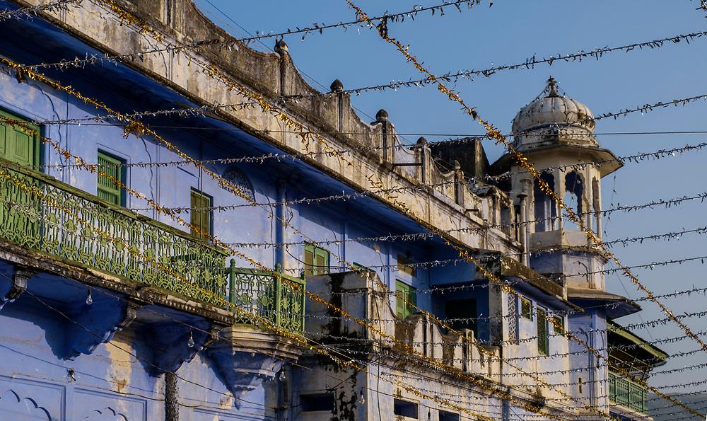 PUSHKAR, INDIA - CIRCA NOVEMBER 2016:  View of Typical Architechtural Facade in Pushkar