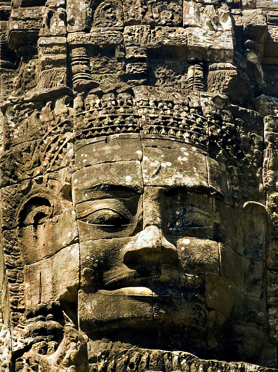 Ta Som : gopura, closeup of the head and face