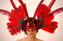 The Animal Ball..This years Animal Ball which brings the glamour and splendour of a masked soiree to the heart of London will benefit the charity Elephant Family with masks created by the likes of Christian Lacroix, Mario Testino and Swarovski. Pic Shows Katherine Aplin wearing a creation by Beluah London. The masks will be on show at Sotheby's until May 15th, London, UK, May 10, 2013. Photo by:  i-Images