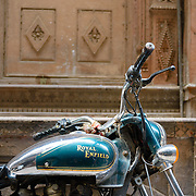 Detail of Royal Enfield motorcycle at Chandni Chowk, Old Delhi