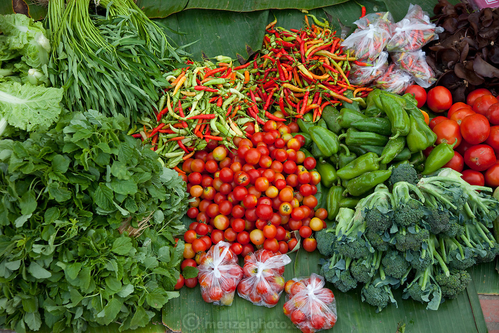 Luang Prabang, Laos. Morning food market. Fresh vegetables.