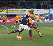 24th February 2018, Dens Park, Dundee, Scotland; Scottish Premier League football, Dundee versus Motherwell; Simon Murray of Dundee and Cedric Kipre of Motherwell