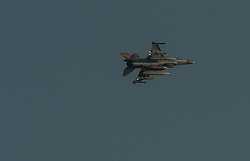 An Israeli F-16 jet fighter flies over Ashdod, a south Israeli city bordering the Gaza Strip, on July 8, 2014. Israel's security cabinet decided on Tuesday to draft 40,000 reserve soldiers for a major military operation Israel launched on the Hamas-ruled Gaza Strip earlier in the day. EXPA Pictures © 2014, PhotoCredit: EXPA/ Photoshot/ Li Rui<br /> <br /> *****ATTENTION - for AUT, SLO, CRO, SRB, BIH, MAZ only*****