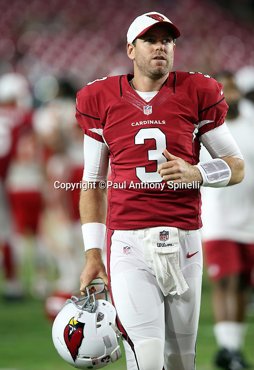 Arizona Cardinals quarterback Carson Palmer (3) jogs off the field after the 2015 NFL preseason football game against the Kansas City Chiefs on Saturday, Aug. 15, 2015 in Glendale, Ariz. The Chiefs won the game 34-19. (©Paul Anthony Spinelli)