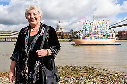 "© Licensed to London News Pictures. 04/09/2019. LONDON, UK. Emilia Kabakov at the photocall for the launch of ""The Ship of Tolerance"" at Tate Modern, Bankside.  The floating installation by Emilia Kabakov (of Russian conceptual artist duo Ilya and Emilia Kabakov) forms part of Totally Thames Festival and will be moored 4 September to 31 October.  The goal of the artwork is to educate and connect the youth of the world through the language of art.  Photo credit: Stephen Chung/LNP"