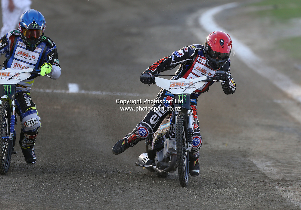 Jason Bunyan (New Zealand)  in action off the start during the 2014 New Zealand FIM Speedway Grand Prix held at Western Springs, Auckland, New Zealand on Saturday 5th April 2014<br /> Credit; Peter Meecham/ www.photosport.co.nz