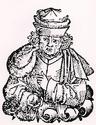 Giovanni Boccaccio de Certaldo (1313-75) Italian writer, author of the 'Decameron' (1358).   Woodcut from 'Liber chronicarum mundi' (Nuremberg Chronicle' by Hartmann Schedel (Nuremberg, 1493).