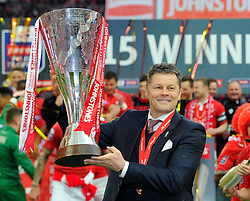 Bristol City manager, Steve Cotterill with the JPT trophy  - Photo mandatory by-line: Joe Meredith/JMP - Mobile: 07966 386802 - 22/03/2015 - SPORT - Football - London - Wembley Stadium - Bristol City v Walsall - Johnstone Paint Trophy Final