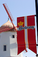 Solvang Flag and the Famous Danish Windmill, Solvang, California