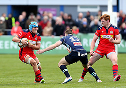 Olly Robinson openside flanker for Bristol Rugby takes on Henry Staff outside centre for Bedford Blues - Mandatory by-line: Robbie Stephenson/JMP - 23/04/2016 - RUGBY - Goldrington Road - Bedford, England - Bedford Blues v Bristol Rugby - Greene King IPA Championship