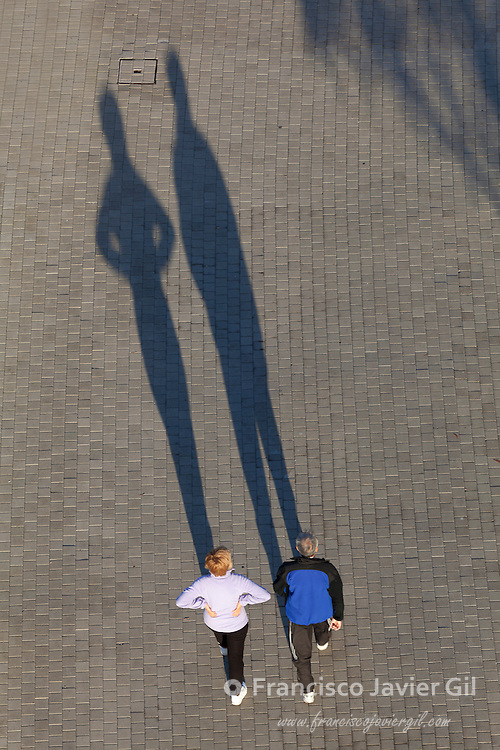 People and shadows, Abandoibarra, Bilbao, Bizkaia, Basque Country, Spain