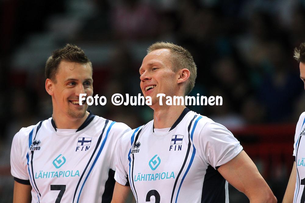 1.6.2013, Helsinki, Finland.<br /> Lentopallon Maailmanliiga 2013, Suomi - Portugali / FIVB World League 2013, Finland v Portugal.<br /> Matti Hietanen &amp; Mikko Esko - Suomi / Finland