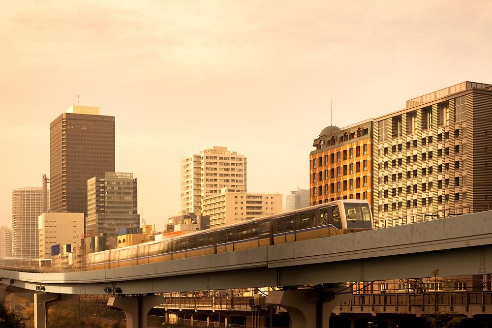 Elevated Yurikamome monorail at Shiodome Area, Shimbashi, Tokyo, Kanto Region, Honshu, Japan