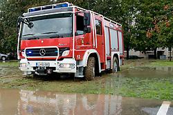 Fireman truck stuck in mud after heavy rain on September 19, 2010, in Ljubljana, Slovenia. (Photo by Matic Klansek Velej / Sportida)