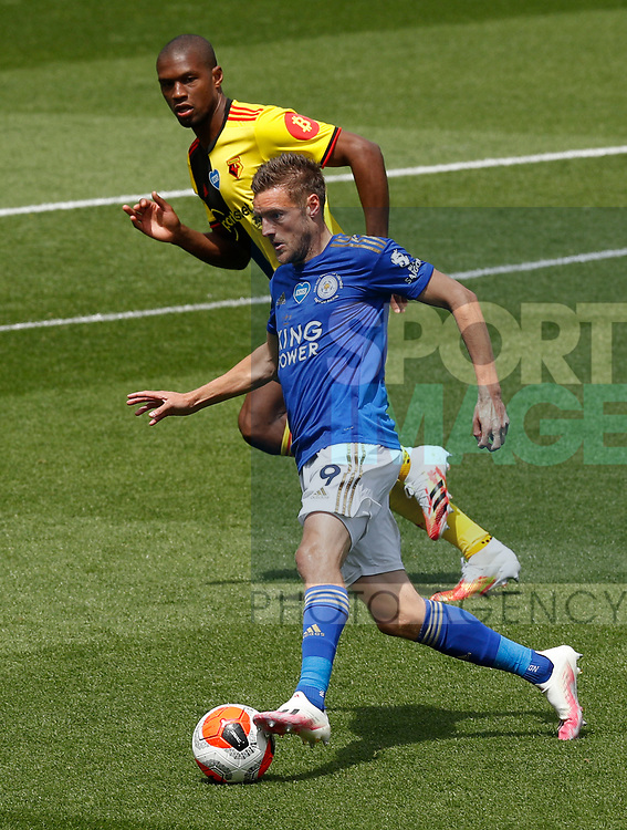 Jamie Vardy of Leicester City during the Premier League match at Vicarage Road, Watford. Picture date: 20th June 2020. Picture credit should read: Darren Staples/Sportimage
