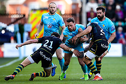 Francois Hougaard of Worcester Warriors takes on Alex Mitchell and Piers Francis of Northampton Saints - Mandatory by-line: Robbie Stephenson/JMP - 04/05/2019 - RUGBY - Franklin's Gardens - Northampton, England - Northampton Saints v Worcester Warriors - Gallagher Premiership Rugby