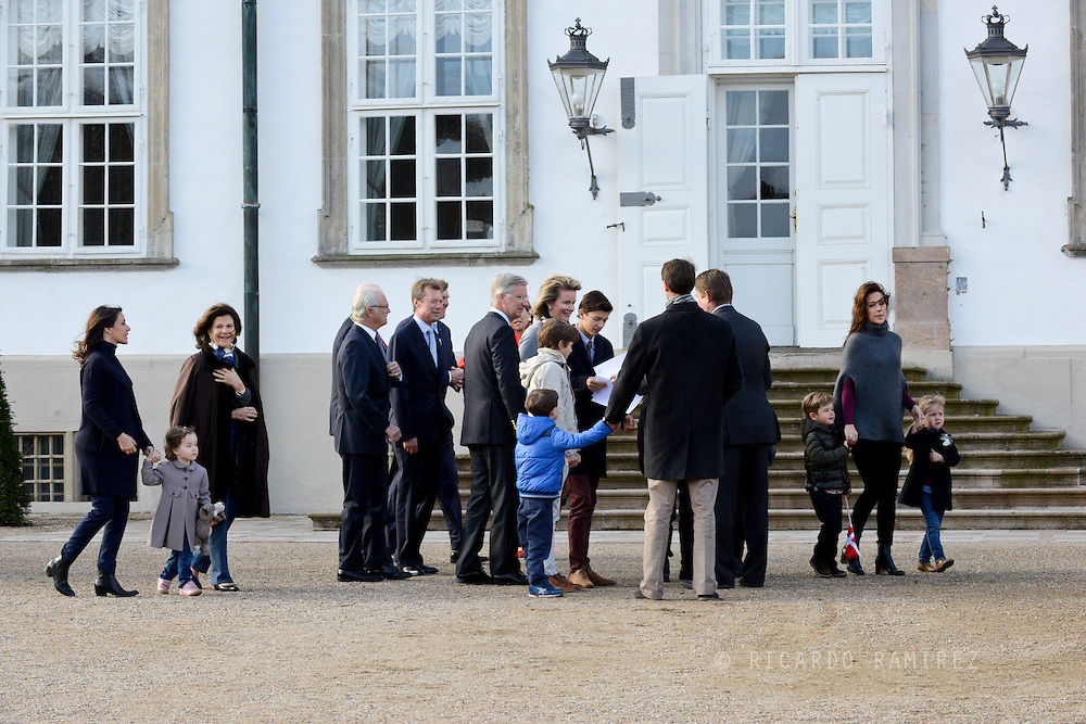 16.04.2015. Fredensborg, Denmark.<br /> Crown Prince Frederik of Denmark, Crown Princess Mary of Denmark, with, Princess Josephine, and Prince Vincent, King Harald of Norway, King Carl Gustaf of Sweden, Henri Grand Duke of Luxembourg, King Willem Alexander of the Netherlands, Queen Maxima of the Netherlands, King Phillipe of Belgium, Queen Mathilde of Belgium, King Carl Gustaf and Queen Silvia of Sweden, Princess Marie of Denmark attend The traditional morning greeting at Fredensborg Palace, for Queen Margarethe II of Denmark on her 75th Birthday.<br /> Photo:© Ricardo Ramirez