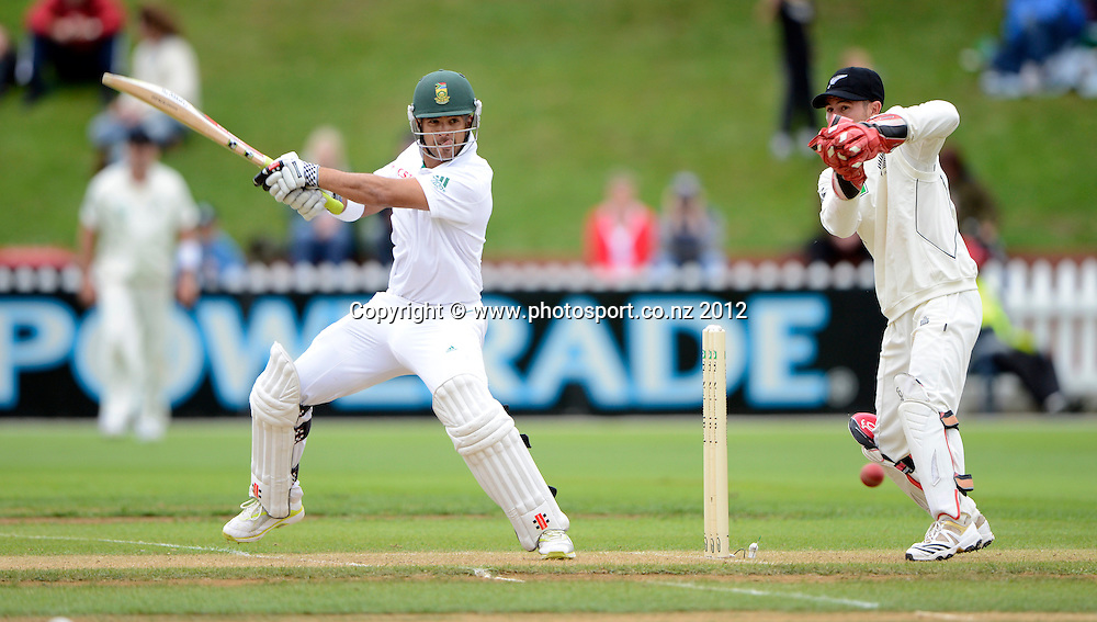 South Africa's Jean-Paul Duminy cuts at Kruger van Wyk looks on. Test match cricket. Third Test, Day 2. New Zealand Black Caps versus South Africa Proteas, Basin Reserve, Wellington, New Zealand. Saturday 24 March 2012. Photo: Andrew Cornaga/Photosport.co.nz