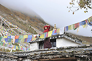 Asia, Nepal, a Buddhist priest and prayerflags