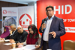 © Licensed to London News Pictures. 13/04/2018. London, UK. OHID AHMED, the mayoral candidate for the Aspire Party speaks at the manifesto launch in Whitechapel, east London on 13th April 2018. The Aspire Party candidate for Tower Hamlets Mayor, Ohid Ahmed is the former deputy to former Mayor of Tower Hamlets, Lutfur Rahman. The Independent Aspire Party has been registered with the Electoral Commission and is running 45 candidates in the upcoming local elections in Tower Hamlets. Photo credit: Vickie Flores/LNP