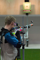 Team GB's James Huckle in action in the  Men's 10m Air Rifle at London 2012 Olympics, Monday, 30th July 2012.  Photo by: i-Images