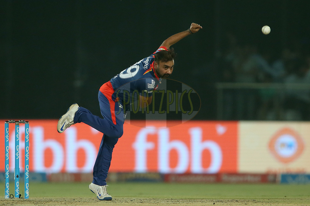 Amit Mishra of the Delhi Daredevils sends down a delivery during match 40 of the Vivo 2017 Indian Premier League between the Delhi Daredevils  and the Sunrisers Hyderabad held at the Feroz Shah Kotla Stadium in Delhi, India on the 2nd May 2017<br /> <br /> Photo by Shaun Roy - Sportzpics - IPL