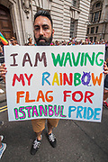 A protest against commercialisation of the march and deportation of gay people stops the marchagaina t the end - The annual London Gay Pride march heads from Oxford Circus to Trafalgar Square.