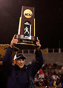CHATTANOOGA, TN - DECEMBER 18:  Head coach Andy Talley of the Villanova Wildcats holds up the NCAA FCS Championship trophy after the game against the Montana Grizzlies at Finley Stadium on December 18, 2009 in Chattanooga, Tennessee.  The Wildcats beat the Grizzlies 23-21.  (Photo by Mike Zarrilli/Getty Images)