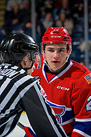 KELOWNA, BC - FEBRUARY 06:  Luke Toporowski #22 of the Spokane Chiefs stands at the face-off against the Kelowna Rockets  at Prospera Place on February 6, 2019 in Kelowna, Canada. (Photo by Marissa Baecker/Getty Images)