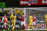 Sutton United's Jamie Collins (6) heads at goal during the The FA Cup match between Sutton United and Arsenal at Gander Green Lane, Sutton, United Kingdom on 20 February 2017. Photo by Phil Duncan.