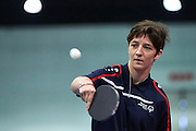 SO Poland athlete Monika Garus plays table tennis   during third day of the Special Olympics World Games Los Angeles 2015 on July 27, 2015 at South Hall on Los Angeles Convention Centre in  Los Angeles, USA.<br /> USA, Los Angeles, July 27, 2015<br /> <br /> Picture also available in RAW (NEF) or TIFF format on special request.<br /> <br /> For editorial use only. Any commercial or promotional use requires permission.<br /> <br /> Adam Nurkiewicz declares that he has no rights to the image of people at the photographs of his authorship.<br /> <br /> Mandatory credit:<br /> Photo by &copy; Adam Nurkiewicz / Mediasport