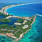 Aerial view of Punta Nizuc.<br /> Cancun, Quintana Roo. Mexico.