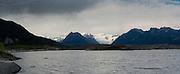 The sun sets over the Root Glacier near McCarthy, Alaska.