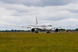 Repro Free: 12/06/2017 Qatar Airways Airbus A350 is pictured landing at Dublin Airport for the launch of the inaugural Dublin to Doha route. Picture Andres Poveda