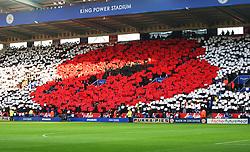 General view as Leicester City fans hold up a poppy as part of the Remembrance Day events  - Mandatory byline: Jack Phillips/JMP - 07966386802 - 7/11/2015 - SPORT - FOOTBALL - Leicester - King Power Stadium - Leicester City v Watford - Barclays Premier League