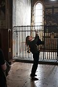 Martina Mondadori Sartogo, founder of Italian design magazine Cabana, taking pictures with her smartphone at Santa Maria delle Grazie church during Passeggiata: an Airbnb experience, Milan on April 6, 2017. During Milan Design Week 2017, Airbnb together with Cabana, has taken over the Casa degli Atellani for an event called &lsquo;Passeggiata - an Airbnb experience of Milan&rsquo; and Mondadori Sartogo acts as cicerone in the short tour of the venues linked to the Cenacolo Vinciano.<br /> <br /> <br /> Martina Mondadori Sartogo, fondatrice della rivista di design Cabana, fotografa con il suo smartphone la chiesa di Santa Maria delle Grazie durante la Passeggiata organizzata da AIrbnb per la settimana del design a Milano il 6 aprile 2017. Durante la Settimana del design 2017, Airbnb insieme a Cabana, usano la Casa degli Atellani, una casa del XV secolo che ospit&ograve; Leonardo, per un evento intitolato Passeggiata: an Airbnb experience of Milan dove Martina Mondadori fa da Cicerone in un piccolo tour dei luoghi legati al Cenacolo Vinciano.